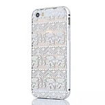 Silver Edge Metal Frame and Elephant Pattern PC Backplane Can pull Combo Material Phone Case for iPhone 5/5S