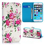 Exquisite Peony Pattern Cross Texture Wallet Style Stand TPU+PU Leather Cover for iPhone 6