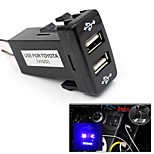 Auto Car 2.1A Dual USB Port Charger Phone PDA DVR + Audio Input for Toyota VIGO