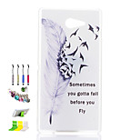 Feather Pattern Transparent Matte PC Material Phone Case And Dust Plug Stylus Pen Stand Combination for Sony M2