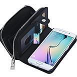 cipzáras pénztárca plusz hátlapot 2 az 1-ben mintás valódi bőr pénztárca esetben kártyák slot Samsung Galaxy S6 szélén