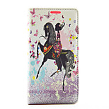 Butterfly Girl Ride Horse Pattern Diamond Wallet Style PU Leather with Card Slot Case for Sony Z4