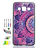 Purple Printing Pattern Black Matte PC Phone Case And Dust Plug Stylus Pen Stand Combination for Samsung Galaxy A3