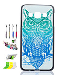 Owl Pattern Black Matte PC Phone Case And Dust Plug Stylus Pen Stand Combination for Samsung Galaxy A3