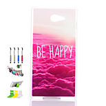 Red Cloud Pattern Transparent Matte PC Material Phone Case And Dust Plug Stylus Pen Stand Combination for Sony M2