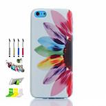 medio del patrón de flor fina hueca caja del teléfono del tpu y el lápiz del enchufe del polvo de la pluma transparente destacan