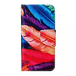 Feather  Flower Pattern PU Leather Phone Case For iPhone 6