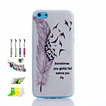 Feather Pattern Thin Transparent Hollow TPU Phone Case And Dust Plug Stylus Pen Stand Combination for iPhone 5C