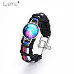 Lureme® Black Intertwine Red Blue White Weave Parachute Cord Blue Starry Sky Time Gem Adjustable Hasp Alloy Bracelet