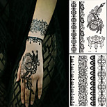 2 PC BlackLace Hena Body Tattoos Sticker For Girls,Women W306-309