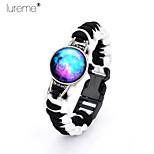 Lureme®Europestyle Brief White Intertwine   Black Weave Parachute Cord Blue Starry Sky Time Gem  Alloy Bracelet