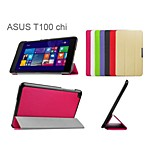 10.1 Inch Three Folding Pattern High Quality PU Leather Case with Stand for ASUS Transformer Book T100(Assorted Colors)