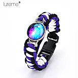 Lureme®Europestyle Brief Black Intertwine  Purple White Weave Parachute Cord Blue Starry Sky Time Gem  Alloy Bracelet