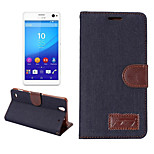 Luxury Denim U Leather Card Holder Wallet Flip Phone Holster For Sony Xperia C4(Assorted Color)
