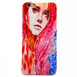 patrón de dama pintada del tpu pintado contraportada suave para el iphone 6