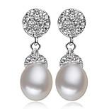 Z&X® 925 Silver Plated Fresh Water Pearl/Rhinestone Drop Earrings Wedding/Party/Daily