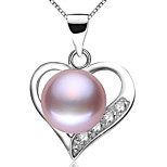 Z&X® 925 Silver Plated Fresh Water Pearl/Rhinestone Love Heart Pendants Without Chain Party/Daily
