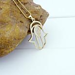 18K Golden Plated Zircon Micro-Inclosed Hamsa Hand Of Fatima Pendant