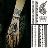 2 PC BlackLace Hena Body Tattoos Sticker For Girls,Women W306-312