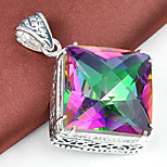 Vintage Natural Fire Square Rainbow Mystic Topaz Gem 925 Silver Pendants for Necklaces For Wedding Party Daily 1pc