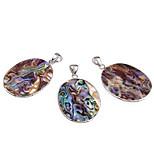 Oval Abalone Paua Shell Pendants + Silver Tone Bail