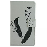 Feather  Pattern Wallet Card PU Case With Stand For Microsoft Lumia 435