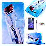 KARZEA™Wish Drift Bottles Pattern PU Leather Case with Screen Protector and Stylus and Dust Plug for Sony Xperia Z3mini