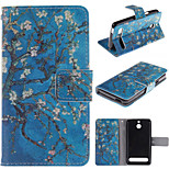 Apricot Blossom Design PU Leather Stand Case with Card Slot for Sony Xperia E1