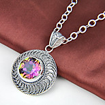 Round Fire Antique Rainbow Mystic Topaz Gem 925 Silver Pendants for Necklaces For Wedding Party Daily Casual 1pc