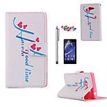KARZEA™Love Time Pattern PU Leather Case with Screen Protector and Stylus and Dust Plug for Sony Xperia M2