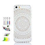 Round Flowers Pattern Thin Transparent Hollow PC Phone Case And Dust Plug Stylus Pen Stand Combination for iPhone 5/5S