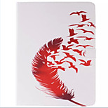 Red Bird and Red Feather Picture PU Leather Full Body TPU Case with Card Holder for Ipad 2 Ipad 3 Ipad 4