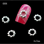 008 10pcs/lot New Sexy Ladies Silver Metal Round Shape Nail Alloy Rhinestone Nail Sticker for DIY Nail Jewelry