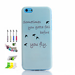 Asuka Pattern Thin Transparent Hollow TPU Phone Case And Dust Plug Stylus Pen Stand Combination for iPhone 5C