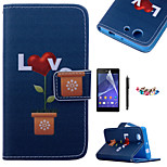 KARZEA™Love Potted Pattern PU Leather Case with Screen Protector and Stylus and Dust Plug for Sony Xperia Z3mini