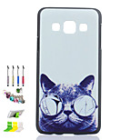 Cat Glasses Pattern Black Matte PC Phone Case And Dust Plug Stylus Pen Stand Combination for Samsung Galaxy A3