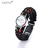Lureme®Europestyle Brief Black Intertwine  Red  White Weave Parachute Cord  Life Tree Time Gem   Alloy Bracelet