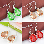 Artistic Friend Gift Drop Green Red Quartz Morganite Gem 925 Silver Drop Earrings For Wedding Party Daily Holiday 1Pairs