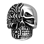Trendy Skull Head Ring 316L Top Quality Stainless Steel Jewelry Joker Skeleton Two face Punk Vintage Rings For Men