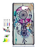 Campanula Pattern Black Matte PC Material Phone Case And Dust Plug Stylus Pen Stand Combination for Sony M2