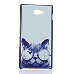 Glasses Cat Pattern PC Hard Case for Sony Xperia M2 D2302 D2303 S50h