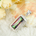 Thanksgiving Gift Fire Colored Mystic Topaz Gem 925 Silver Pendants for Necklaces For Wedding Party Daily Casual 1pc