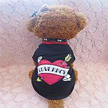 Holdhoney Black and Red Heart In The Middle Cotton T-Shirt For Pets Dogs (Assorted Sizes) #LT15050111