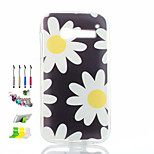 Chrysanthemum Pattern Painted Soft Phone Case And Dust Plug Stylus Pen Stand Combination for Alcatel C5