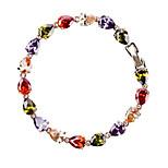Women's Fashion Colorful Crystal Rhinestone Hand Chain Ring Bracelet