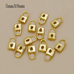 W118 10pcs/lot New Arrival Lock Shape Gold Color Alloy Nail 5mm*8mm Nail Tips Decoration 3D Nail Charms