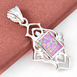 Mother Gift Trendy Fire Square Opal Gem 925 Silver Pendants for Necklaces For Wedding Party Daily Casual 1pc