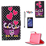 KARZEA™Dots Owl Family Pattern PU Leather Case with Screen Protector and Stylus and Dust Plug for Sony Xperia M2