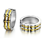 Classic (Grid) Titanium Steel Earrings (Silver + Gold) (1 Pair)