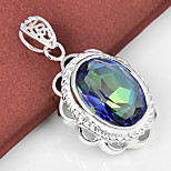 Unique Jewelry Oval Fire Rainbow Mystic Topaz Gem 925 Silver Pendants for Necklaces For Wedding Party Daily Casual 1pc